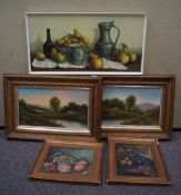 Two 19th century naive oil paintings and three others