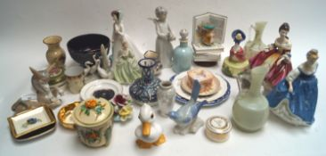 Three Royal Doulton figures and other china
