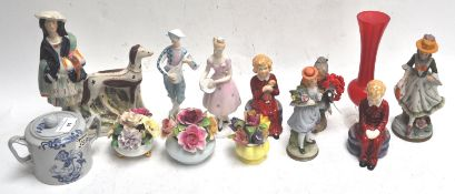 A group of china figures and other items
