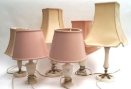 Six table lamps