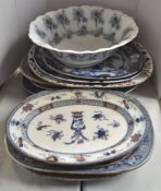 A group of 19th century meat platters and a bowl