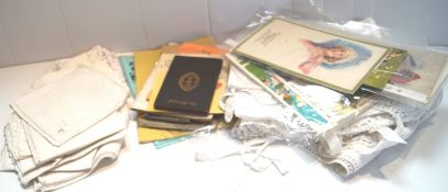 A group of printed ephemera and linen