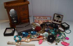 A jewel box and jewellery