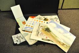 An artists portfolio containing watercolours,