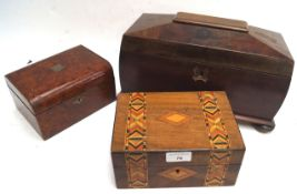 A sarcophagus shaped tea caddy and two other boxes