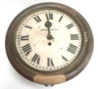 An oak cased dial clock with fusee movement