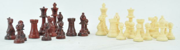 A plastic set of chess pieces,
