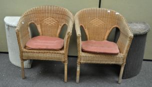 Two caned chairs and two Lloyd Loom style linen baskets
