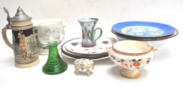 A Crown Staffordshire platter and other items