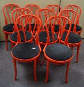 A set of nine bentwood chairs,
