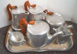 An aluminium tea set