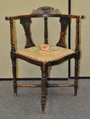 A Victorian stained beech corner chair