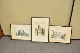 A group of three etchings