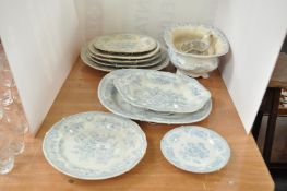 A 19th century pottery part dinner service,