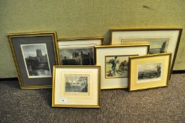 A group of hand coloured engravings,