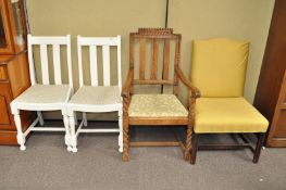 Four chairs, to include two white panted oak dining chairs,