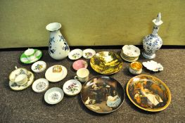 A Delft vase and other items