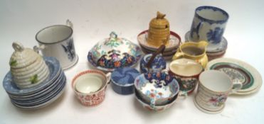 A 19th century moustache cup and other items