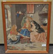 A Victorian woodwork picture 'The Fortune Teller',