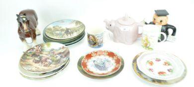 A Trafalgar mug and plate and other ceramics