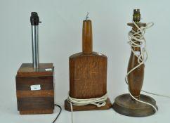 Three oak table lamps