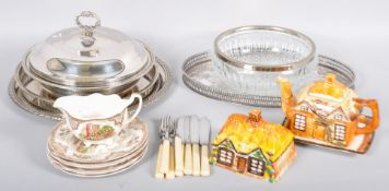 A collection of porcelain and silver plate