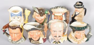 A collection of eight assorted Royal Doulton character / Toby jugs