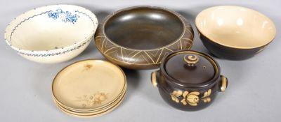 Two Denby bowls and a casserole