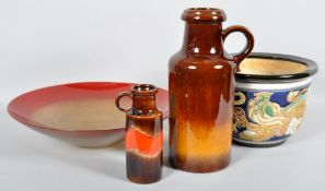 A 20th Century Chinese enamelled planter with two West German pottery jugs