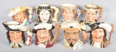 A collection of eight assorted Royal Doulton character / toby jugs to include Henry V, Othello,