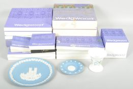 A collection of assorted Wedgwood Jasperware plates to include christmas editions,