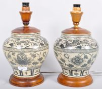 A pair of Chinese style baluster lamps