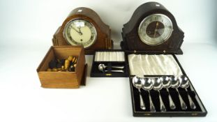 A chess set, plated cutlery and 2 mantel clocks