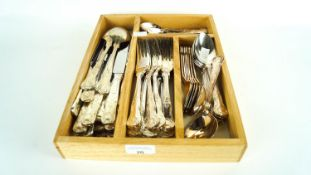 A group of plated Kings pattern cutlery