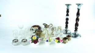 A group of assorted metalware and other items