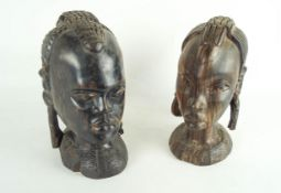 Two African carved heads