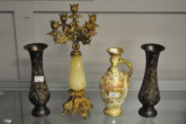 A gilt metal candelabra, Royal Bonn vase and two brass vases