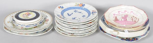 A collection of assorted antique plates to include some 19th Century examples.