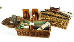 A group of wicker baskets and other items