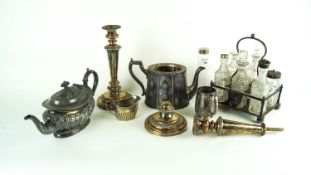 A collection of silver plated ware to include a teapot,