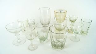Two 19th Century Toastmasters port glasses along with assorted period glass beakers and stemmed