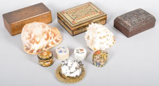 A Collection of assorted curios to include three lidded boxes, a soapstone dish,