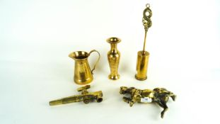 A collection of assorted brass ware to include a model of a horse, brush jug etc