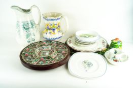 A collection of assorted china to include a Chinese Lazy Susan