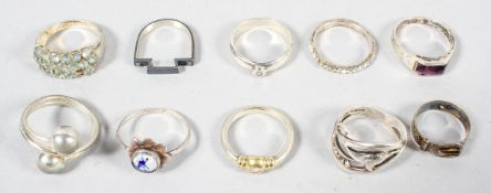 A collection of ten rings of variable designs. Most are marked or hallmarked for Silver 925.