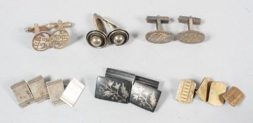 A collection of six pairs of cufflinks of variable designs. Some are marked for Silver / 925.