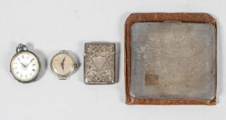 Silver vesta, wristwatch and fob watch,