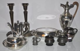 A group of assorted plate and brassware to include a hot water jug