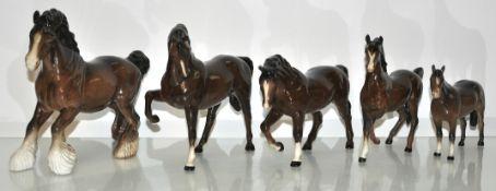 Five Beswick horses
