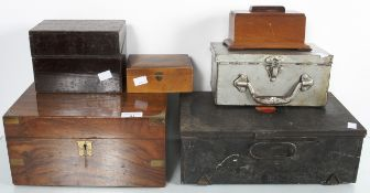 A writing slope, tea caddy and three boxes